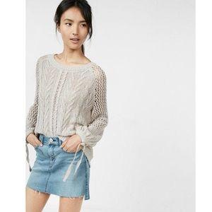 Express Open Stitch Ballon Sleeve Sweater